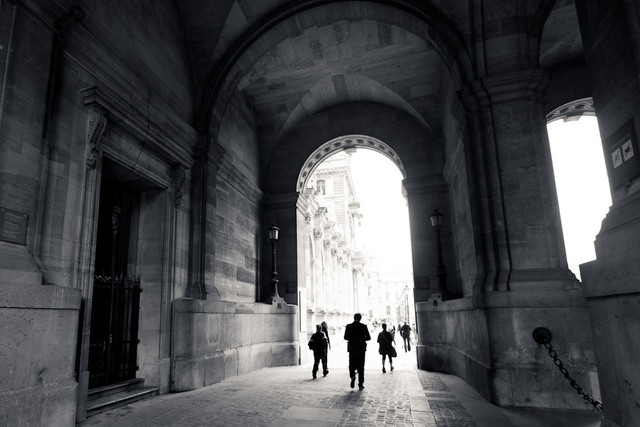 Entering the Louvre